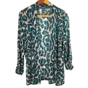 Animal Print Teal & Cream Light Weight Sweater